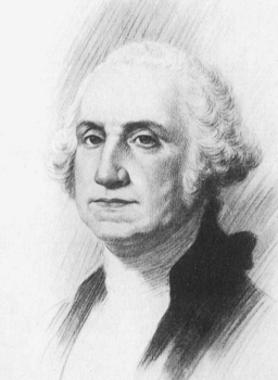 Drawing of George Washington, the first president of the United States, who had dentures by age 57